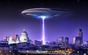 Illustration of Flying Saucer over London
