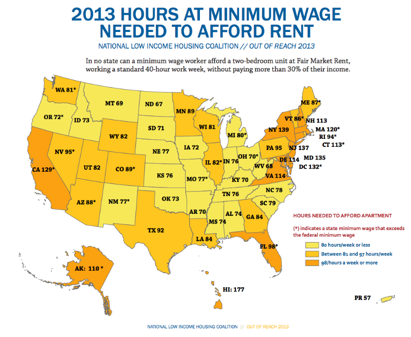 How Many Minimum Wage Hours Needed To Afford A Two Bedroom