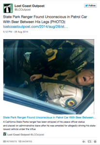 tweet of park ranger asleep on job with can of beer in his lap