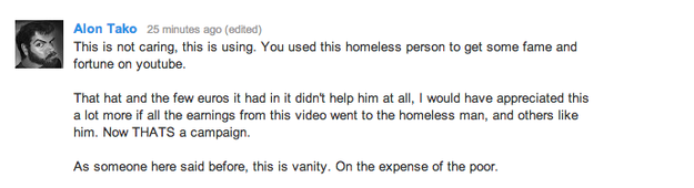 angry at homeless man on twitter