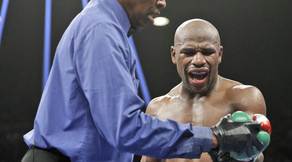 mayweather crying because maidana bit him