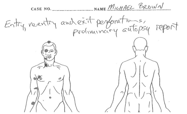 mike brown autopsy revelaed to have been shot 6 times